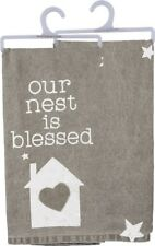 "New~""Our Nest Is Blessed""~Cotton Tea Towel 28""~Hand/Kitchen/Dis h/Star/Home/Heart"