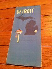 Vintage 1970 Detroit Michigan Map Standard American Oil Gas Service Station old