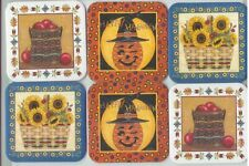 6 Longaberger Basket Coasters w 2 Apples 2 Happy Halloween Pumpkin 2 Sunflower