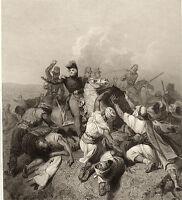 Gravure XIXe Algérie Bataille de la Sikkak Abd el-Kader Général Bugeaud