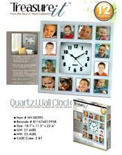 Treasure It Quartz Silver Wall Clock 12 Photo Frame Holder Home Decor