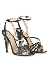 Gucci Wangy Black Leather Crystal Embellished Sandals w/ Gold Studs Size 38