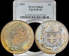 1969 Fiji KM-32 Dollar PCGS PR65 Gold/Bronze Toned top grade none graded higher