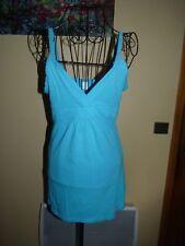 CAMAIEU Débardeur long taille 2 3/38 bleu turquoise bretelles haut top t-shirt