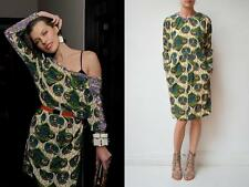 New MARNI H&M Green Purple Multi Batik Print Silk Long Sleeve Dress 6 Fits 4