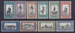 """Eritrea 1930 """"Soggetti africani"""" la serie MNH** 10 valori nuova gomma integra"""