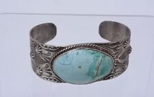 Old Navajo Indian Bracelet with turquoise; stamps and repousse - Fred Harvey Era