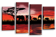 ELELEPHANT CANVAS ART PICTURE RED BROWN SUNSET ON WATER WALL SPLIT PANEL 112 cm
