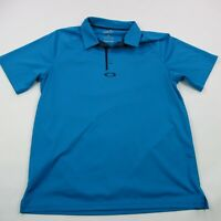 Oakley Mens Polo Shirt Blue Short Sleeve Medium Performance Soft Golf Solid