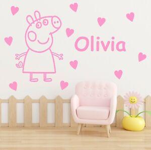 Peppa Pig Wall Sticker Decal With Personalised Name | Kids Vinyl Bedroom