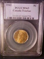 1942 Canada 5 Cents Tombac Nickel - PCGS MS63 - Great Collector Coin! - b122uhct