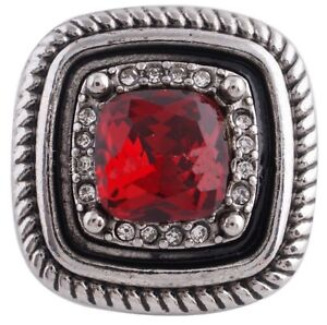 Silver Rope Square Red Rhinestone 20mm Snap Charm Jewelry For Ginger Snaps