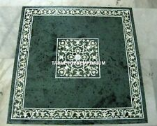 "36"" Green Marble Center Dining Table Top Handmade Inlay Art Hallway Decor H4040A"