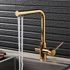 Modern Gold Kitchen Sink Faucet Water Filtering Single Hole Vessel Filler Brass