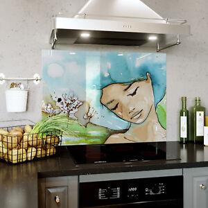 Glass Splashback Kitchen Tile Cooker Panel ANY SIZE Watercolour Dreaming 0330