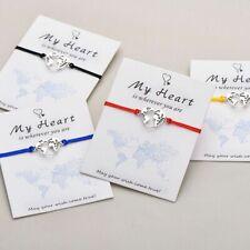 Lucky Bracelet My Heart With You World Map Bracelet Handmade Adjustable String
