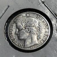1895-A FRANCE SILVER 50 CENTIMES NICE GRADE COIN