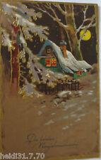 """"""" NOUVEL AN,lune,maison,Forêt """" 1918,série EAS 1319,carte postale en relief"""