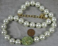 """Nice Necklace Goldtone Faux Pearl & Green Rhinestone 20"""""""