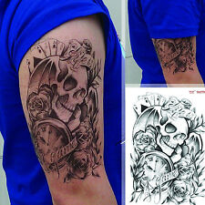 Black Waterproof Large Sexy Temporary Tattoo Body Arm Skull Stickers Removable
