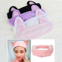 Women Girl Cute Cat Ear Soft Towel Hair Band Wrap Headband Bath Spa MakeUp Tool.
