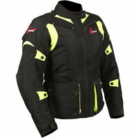 Weise Ladies Pioneer Waterproof Motorcycle Motorbike Textile Jacket - Black Fluo