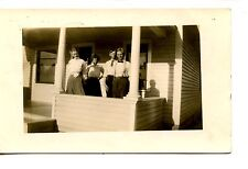 Couples on House Front Porch-Deforest Wisconsin-RPPC-Vintage Real Photo Postcard