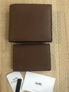 Authentic  COACH MEN'S COMPACT ID  Sport Calf Leather Wallet in Brown F74991