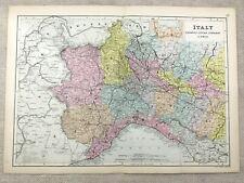 1891 Antique Map of Italy Lombardy Piedmont Liguria 19th Century Original