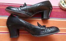 Vtg 1940s Black Leather Shoe 9Aa Pump Low Heel
