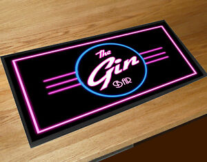 The Gin Bar Neon 80's label bar runner mat Cocktail bars & Pubs