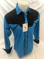 Men RODEO WESTERN COUNTRY ROYAL BLUE Long Sleeve Woven SNAP UP Shirt Cowboy 6675