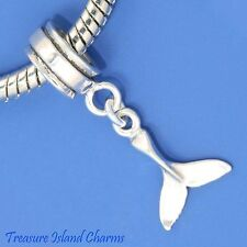 WHALE OR DOLPHIN TAIL .925 Solid Sterling Silver EUROPEAN EURO Dangle Bead Charm