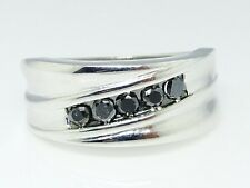 Mens White Gold Finish Black Diamond 10 MM Wedding Engagement Band Ring .50 Ct