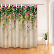 Flower wall Waterproof Polyester-Fabric Shower Curtain & 12hooks 180*180cm new