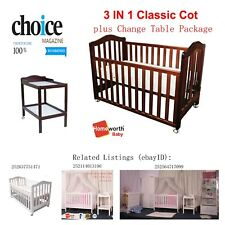 3 in 1 Classic Cot Change Table Mattress Pad Crib Baby Bed Furniture Cots White