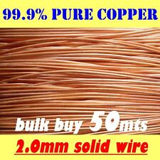50 METRES 2.0mm = 14G SWG = 12G AWG SOLID BRIGHT COPPER WIRE !!FREE POSTAGE!!