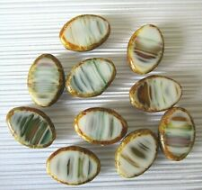 10 Czech glass oval beads, striped Picasso