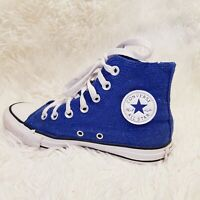 Converse All Star Chuck Taylor All Star Hi Top Metalic Blue Trainers UK 3 Girls