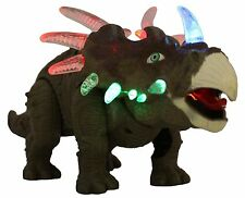 Battery Powered Triceratops Dinosaur Toy Realistic Sounds and Fun Lights