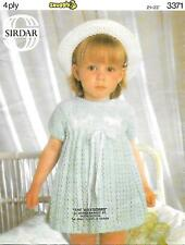 """Vintage Baby Dress Knitting Pattern, 4 ply, 21-23"""" So pretty, 9 months - 2 years"""
