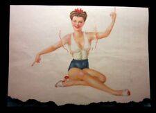 """Vintage May 1944 sexy risque two sided pin-up calendar page by Vargas 8.5""""x 12"""""""