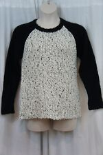 Kensie Sweater Sz M Black White String Combo Long Sleeve Knit Casual Sweater