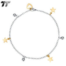 & Ball Chain Anklet (An25Sj) New Tt Silver/Gold Stainless Steel Dangle Star