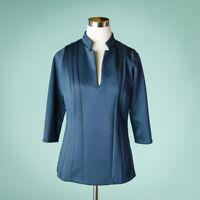 Gretchen Scott Medium Size M Top Navy Blue Scuba Knit Split V Neck 3/4 Sleeve