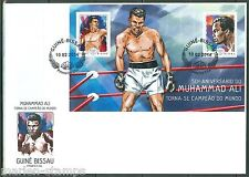 GUINEA BISSAU 2014 50th ANNIVERSARY OF MUHAMMAD ALI  AS WORLD CHAMP S/S FDC