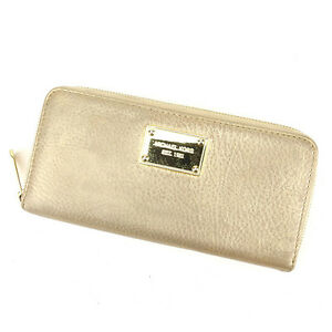 Michael Kors Wallet Purse Long Wallet Gold Woman Authentic Used Y7431