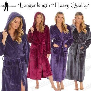 Ladies LONG LENGTH Luxury Shimmer Fleece Hooded Dressing Gown **NEW 2021 STOCK