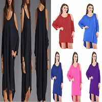 Ladies Plain Cut Out Shoulder High Low Baggy Oversize Loose Women Tops Plus Size