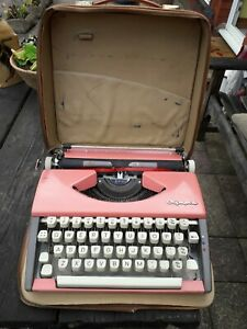 Vintage Olympia Deluxe Pink Typewriter & Case 60s 70s